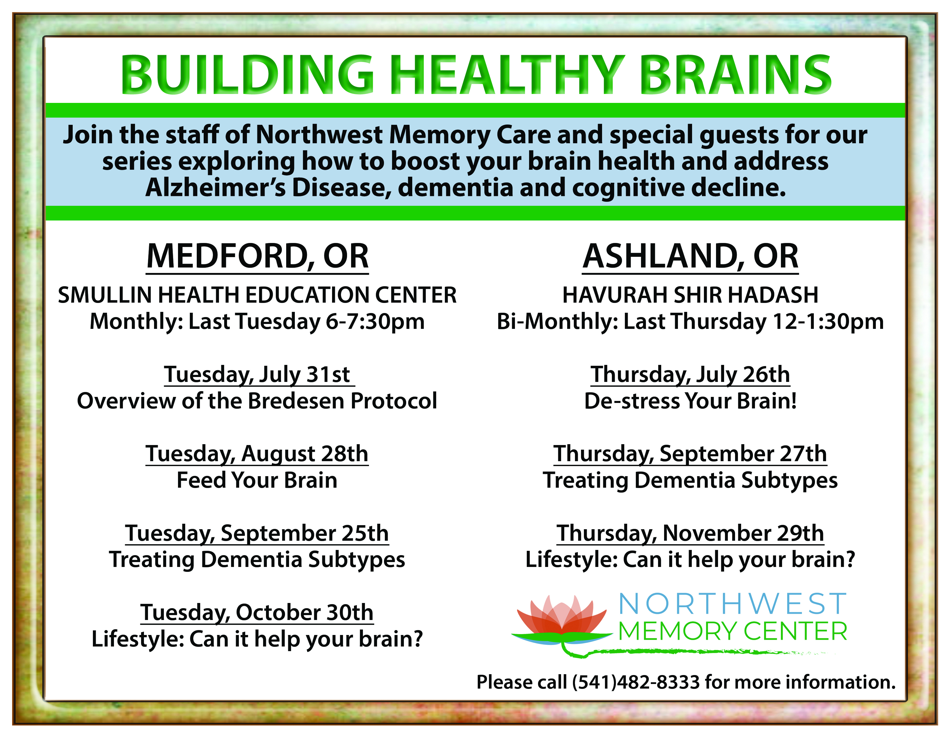 Southern Oregon Lecture Series on Brain Health